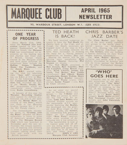 The Who: A Marquee flyer, featuring The Who's residency at the club, April 1965,