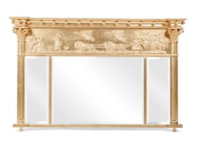 A Regency-style gilt-framed three glass overmantel mirror