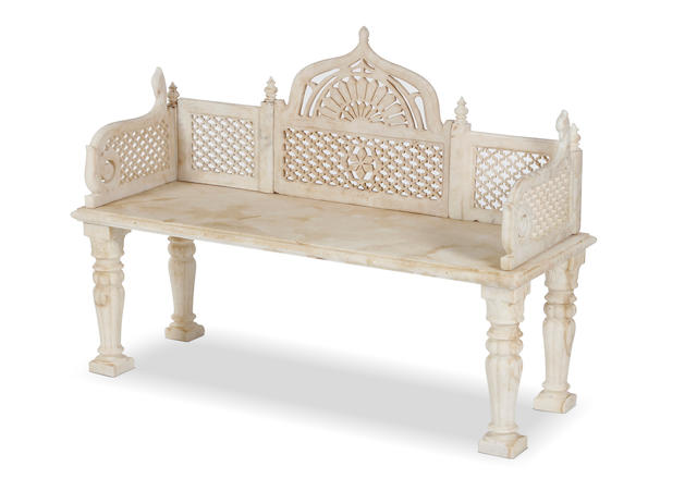 A 20th century suite of marble garden furniture, in the 19th century Mughal style