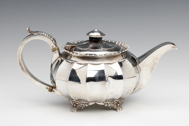 A George IV silver teapot by Jason Barber & Co., York 1821-1824