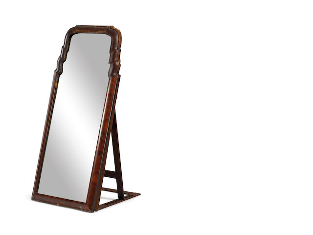 A Queen Anne and later walnut pier mirror