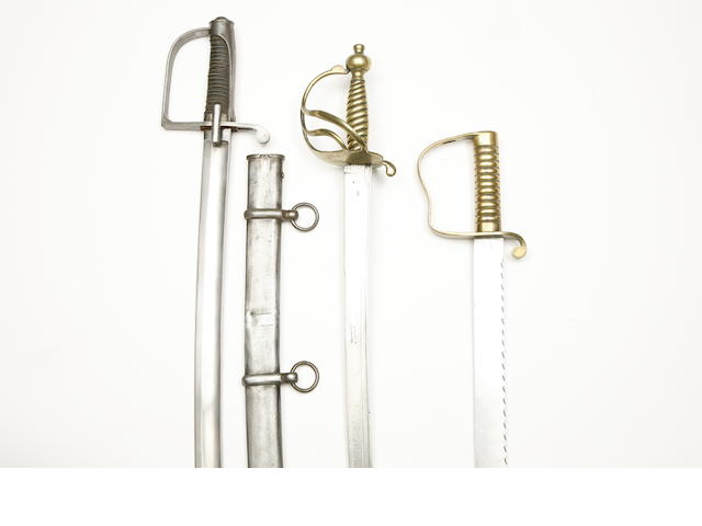 A 1751 Pattern Sword, An 1856 Pattern Pioneer's Sidearm, And A Continental Cavalry Trooper's Sabre