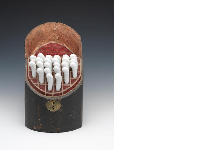 A Knife box containing a set of Bow porcelain-handled cutlery, circa 1750-60