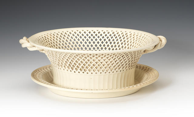A large creamware basket and stand, circa 1780