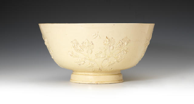 A very large early creamware punchbowl, circa 1750