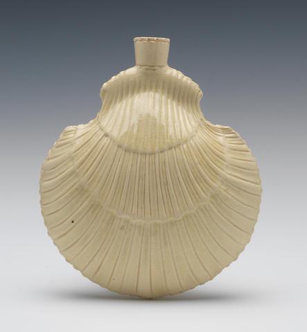 A fine creamware pilgrim flask, circa 1770-75