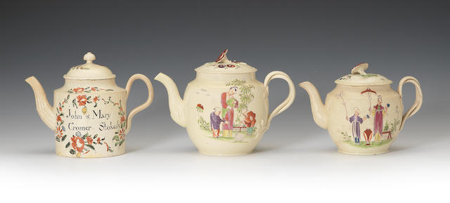 Three creamware teapots and covers, circa 1775