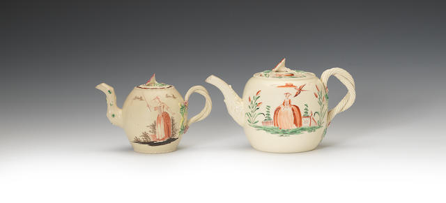Two creamware teapots and covers, circa 1765-70