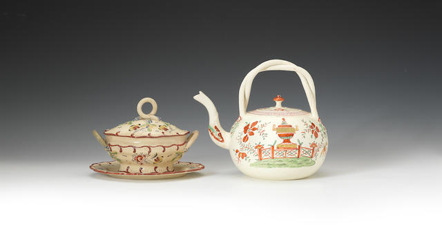 A creamware tea kettle and cover and a tureen, cover and stand, circa 1770-75