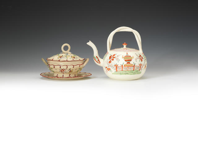 Tea kettle and cover and tureen, cover and stand