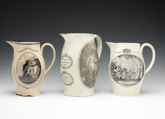 Four large creamware printed jugs, circa 1780-1800