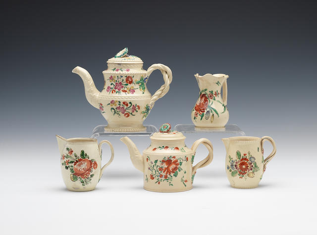 Three creamware cream jugs and two small teapots and covers, circa 1770-75