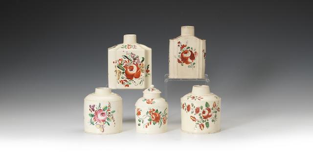 Five creamware tea canisters, circa 1780
