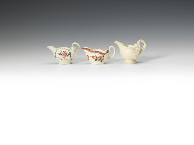 Three creamware creamboats