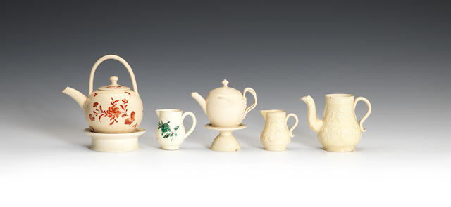 A group of creamware 'toy' or miniature items, circa 1750-80