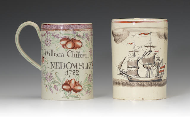 Two creamware mugs with ship and amorial