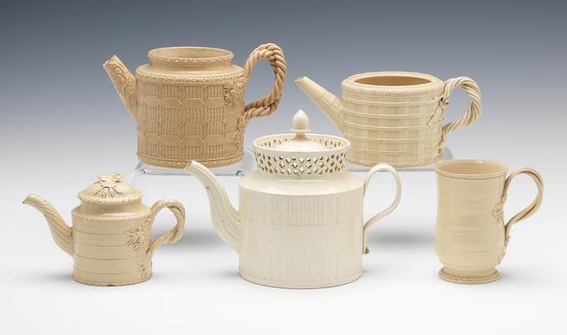 Various engine turned creamware items, circa 1770-80