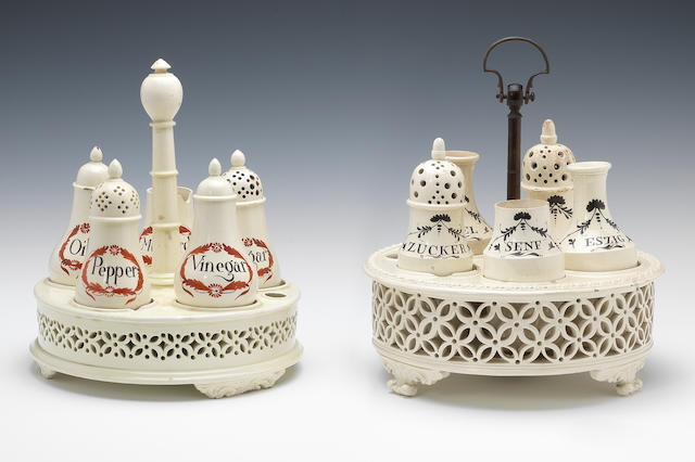 A Whitehead and Co. cruet stand and another cruet stand with five bottles each, circa 1790-1800