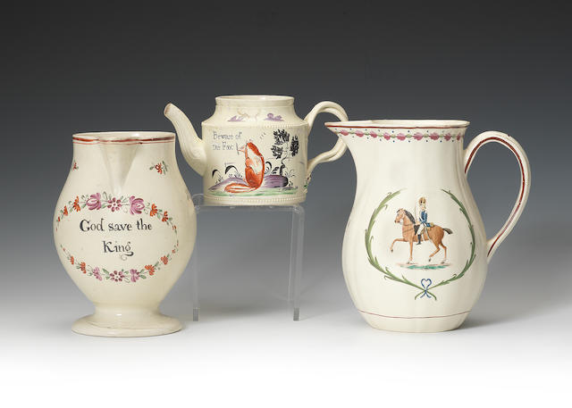 Three creamware commemorative items, circa 1780-1795