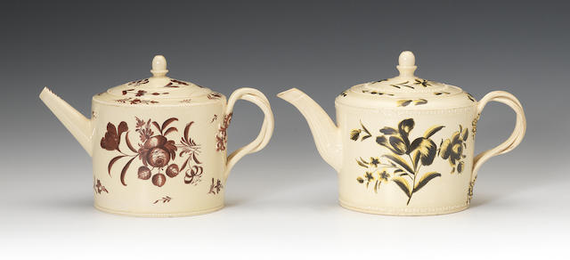 Two attractive creamware teapots and covers, circa 1770-75