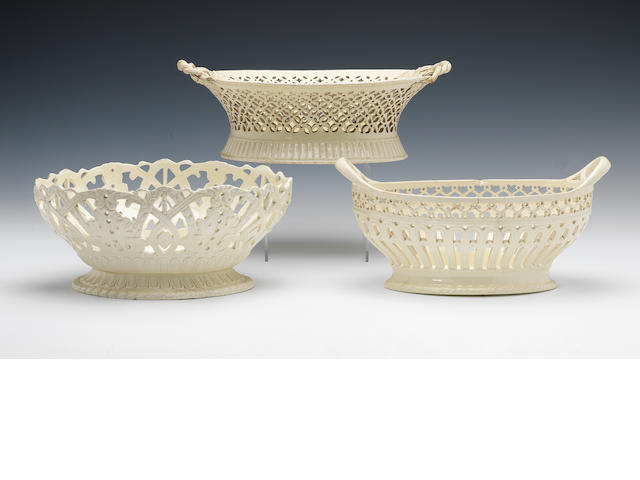 Three creamware oval baskets, circa 1785-1795