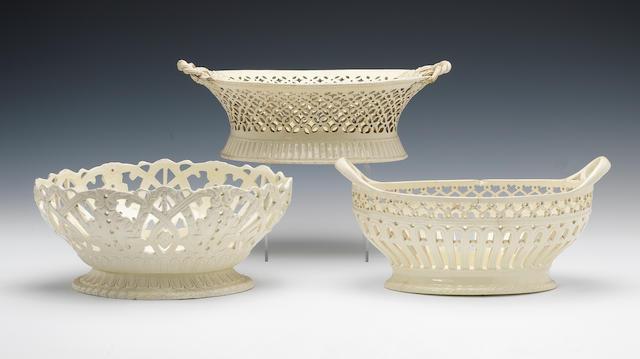 Three creamware oval baskets, circa 1785-1795