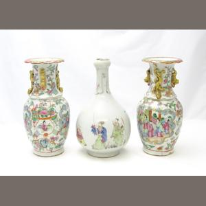 A famille rose vase and a pair of Canton vases 19th century