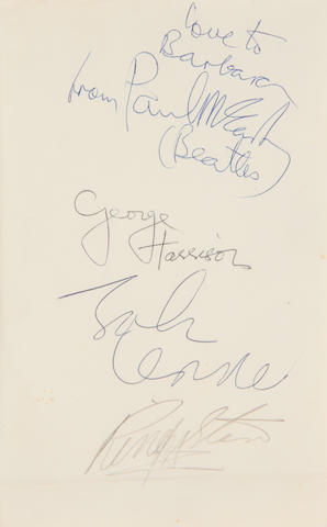 The Beatles: A set of Beatles autographs, 1963/1964,