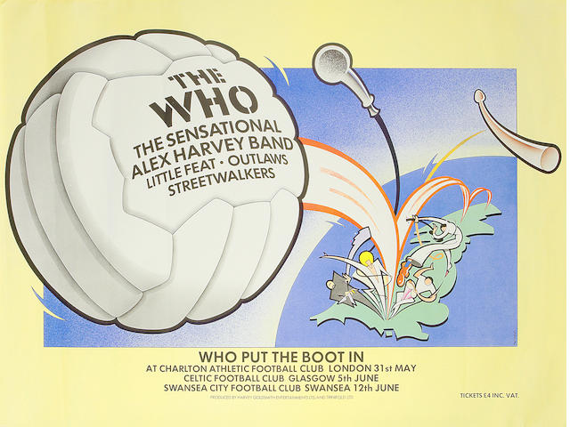 The Who: 'Who Put The Boot In', a poster for the three football club concerts by The Who, May-June 1976,