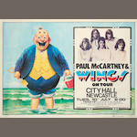 Paul McCartney and Wings: A concert poster, Newcastle City Hall, 10th July 1973,