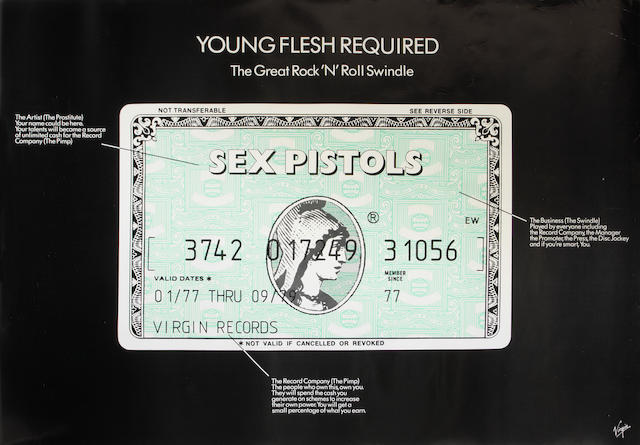 The Sex Pistols: A 'Young Flesh Required' poster, 1979,