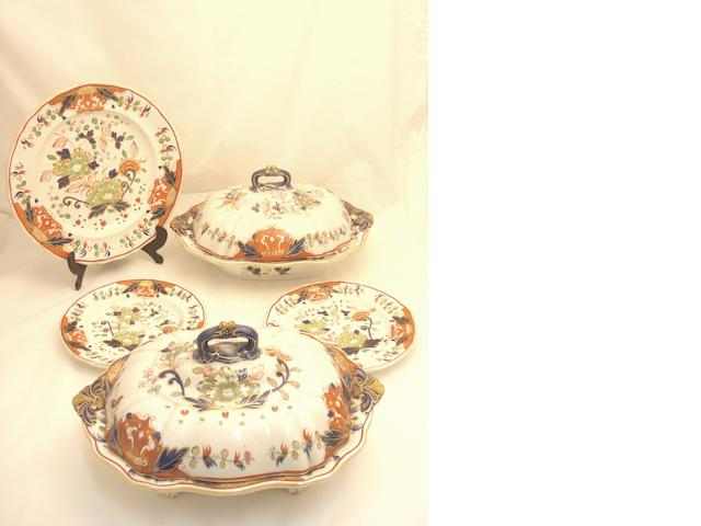 An early Victorian Davenport polychrome earthenware part dinner set