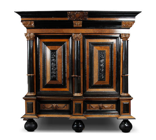 A 19th century rosewood and ebony armoire, Dutch, in the 17th century Flemish manner