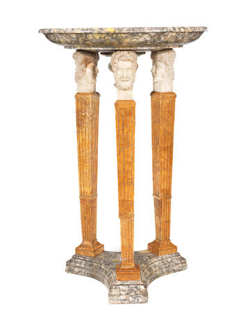 A large Italian marble centre-piece on tri-form columnar base