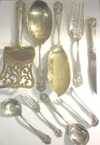 An extensive American silver table service of flatware by Towle Silversmiths, marked STERLING, some incuse stamped by Mermod, Jaccard & King Co, post 1905
