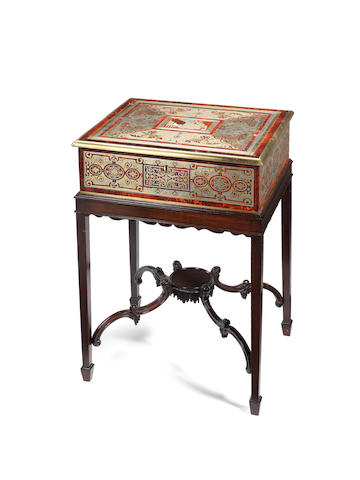 A large early 19th century mother of pearl, brass and pewter inlaid red tortoiseshell Boulle marquetry boxpossibly by Louis Le Gaigneur