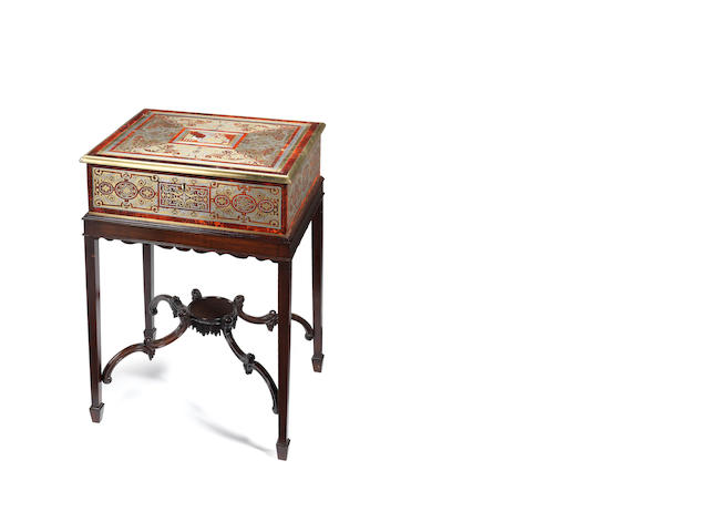 A large early 19th century mother of pearl, brass and pewter inlaid red tortoiseshell Boulle marquetry box possibly by Louis Le Gaigneur