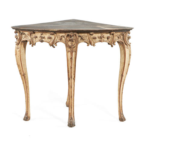A Louis XV painted corner table