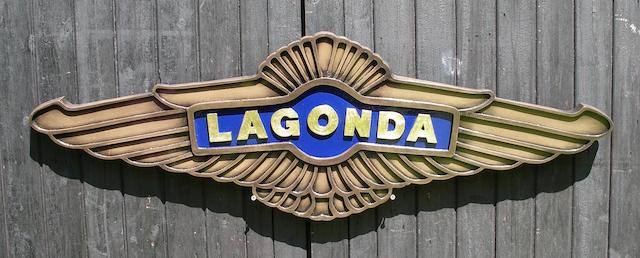 A Lagonda garage display emblem,