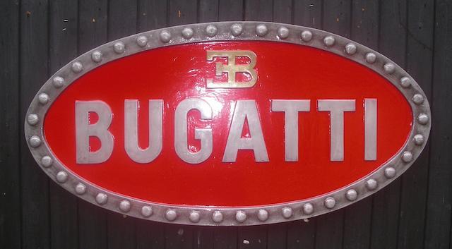 A Bugatti badge garage display emblem,