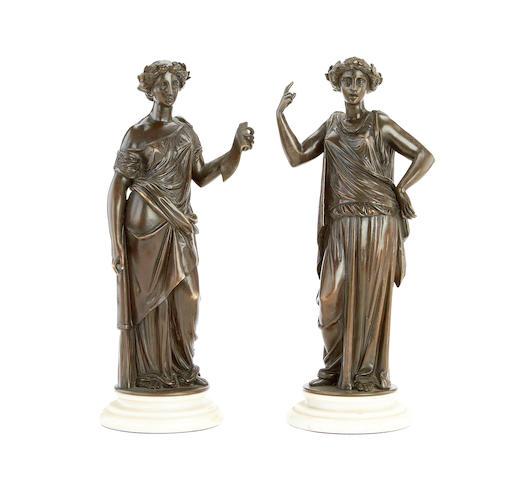 Two late 19th century French bronzes of Classical maidens