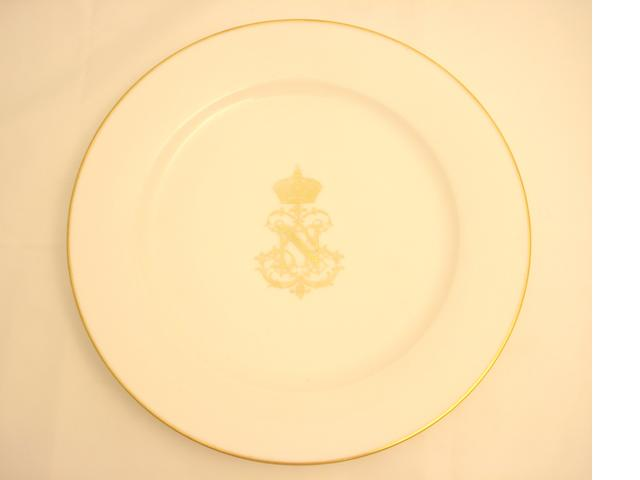 A Sèvres plate from the Imperial Compiegne Service produced for Napoleon III Mid 19th century