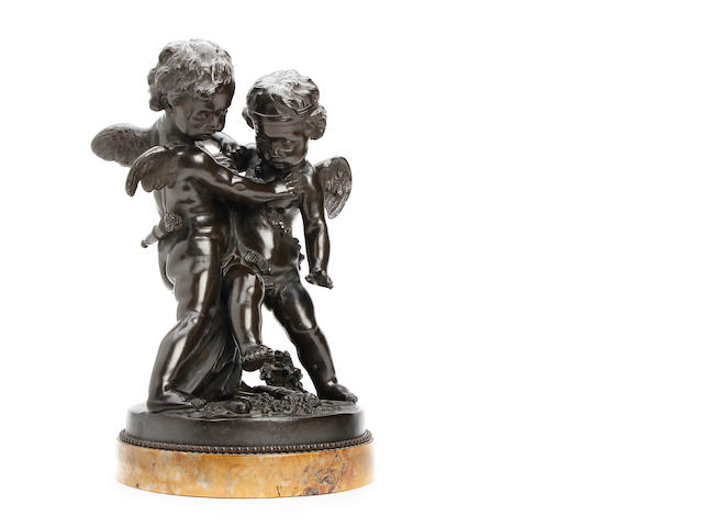 After Etienne Maurice Falconet (French, 1716 - 1791): Deux Amour se disputant un Coeur:  A bronze study of a pair of cherubsSigned 'FALCONET'