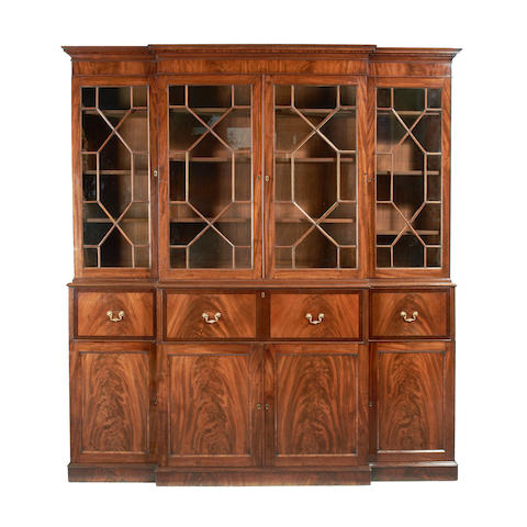 A late George III mahogany secretaire breakfront library bookcase