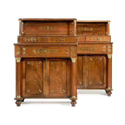 A pair of Regency rosewood and brass inlaid secretaire chiffoniers