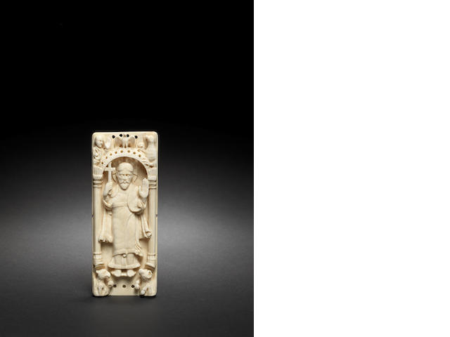 A German 11th century style ivory relief depicting Christ Triumphantcarved before 1850