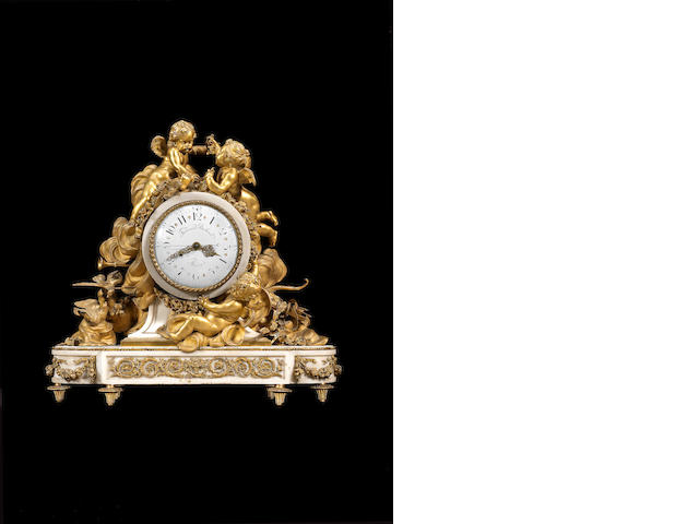 A fine French mid-19th century ormolu-mounted white marble mantel clock possibly by Beurdeley, the movement by Ferdinand Berthoud, Paris
