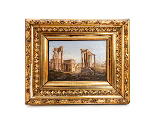 A fine micro-mosaic plaque of the Roman Forum, by the Vatican Mosaic Workshop, last half of the 19th century, in the manner of Michelangelo Barberi (Italian, 1787 - 1867)Signed 'R.F.S.P.' [Reverend Workshop of St. Peters] to bottom right corner, and with paper label to reverse with printed border with initials 'R.F.S.P.V.' beneath a cipher of the crossed keys of St. Peter, and with inked Italian inscription reading 'Mosaico dello stabilimento Vaticano deposito del Mosaicista Barberi' and 'No. 385'