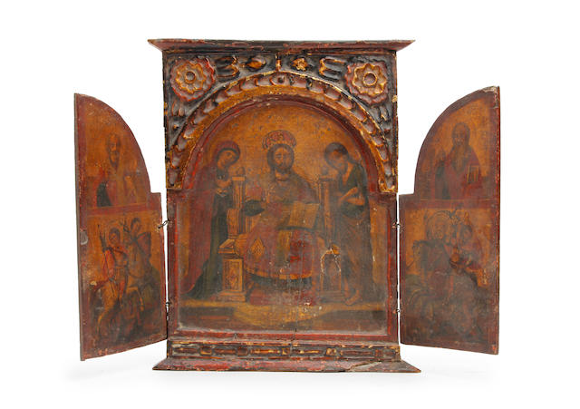 Greek School, 19th century The Deisis, a portable altarpiece with Chosen Saints on the arched wings 33 x 46cm overall