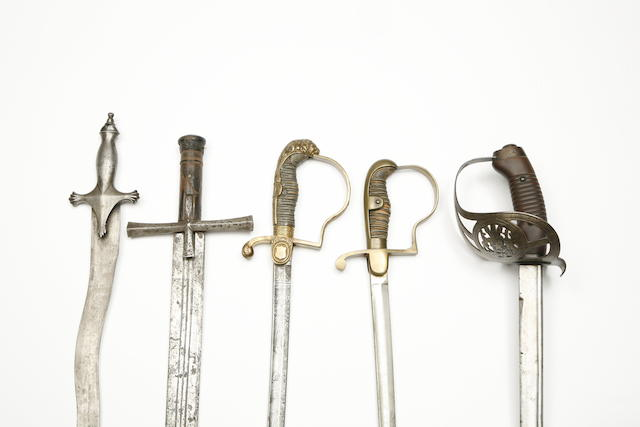 A Chilean Police Officer's Sword, Two German Military Swords, An Indian Tulwar, And A North African Kaskara